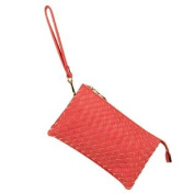 Cooper Woven Basket Embossed Woman's Vegan Leather Cross-Body Clutch Purse Bag