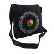 Embroidered Hemp Cloth Peace Sign Celtic Design Cross Body Bag