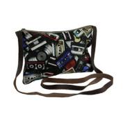 Retro Off the Record Cassette Tape Theme Crossbody Bag w/Leather Strap
