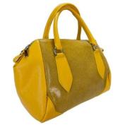 H & S Collection 5198-56 GL SASHA Yellow Structured Sacthel/ Shoulder Bag