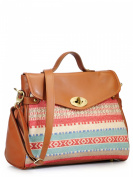 Women Satchel Bag (Red/Tan)