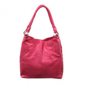 Glossy Fuchsia Pink Chrome Studded Handbag Purse
