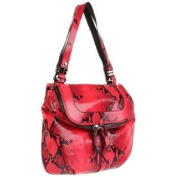 ORYANY Raspberry Snake Embossed Leather Shoulder Handbag Bag ZP968 NWT $515