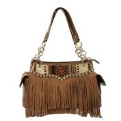 Western Handbag Womens Satchel Fringe Zip Brown N7586097