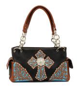 Western Handbag Womens Satchel Glitter Black Turq N7581601