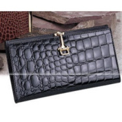 Budd Leather US45-2 Croco Bidente Continental Wallet With Clip Brown