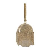 Gold Rhinestone Mesh Covered Round Wristlet Handbag