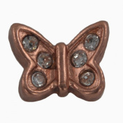 Quiges - Memory Charm Rose Gold Schmetterling with Zirconia for Quiges Memory Lockets