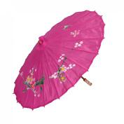 Flower Prints 80cm Diameter Foldable Chinese Dance Umbrella Parasol Fuchsia
