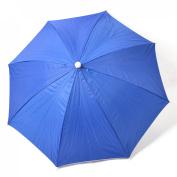 Fishing Camping Outdoor Dark Blue Silver Tone Polyester Umbrella Hat Cap