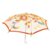 Yellow Embroider Flower Pattern Foldable Mini Lace Umbrella Parasol for Child