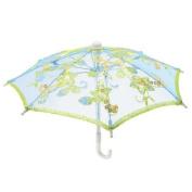 Blue Embroider Flower Pattern Foldable Mini Lace Umbrella Parasol for Child