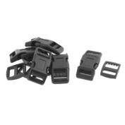 Plastic Straps Side Quick Release Buckles Clasp Black 5 Pcs w Hooks 5pcs