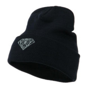 Small Diamond Embroidered Long Beanie - Navy W43S56D
