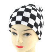 Black White Chequered Pattern Stretchy Hand Kniting Warm Beanie Hat Cap for Men