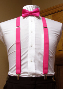 Fuchsia / Hot Pink Matching Bow Tie and Suspender set 2.5cm Men's X Back Clip Spencer J's