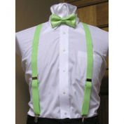 Lime Green Matching Bow Tie and Suspender set 2.5cm Men's X Back Clip