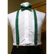 Forest / Hunter Green Matching Bow Tie and Suspender set 2.5cm Men's X Back Clip Spencer J's
