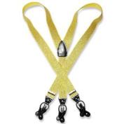 Men's Metallic GOLD Colour SUSPENDERS Y Shape Back Elastic Button & Clips