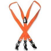 Men's ORANGE SUSPENDERS Y Shape Back Elastic Button & Clip Convertible
