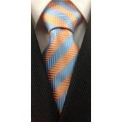 Light Blue and Orange Geometric Stripe Silk Necktie