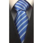 Blue with White and Grey Stripe Silk Necktie