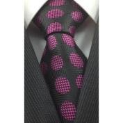 Black with Fuschia Chequered Polka Dot Pattern Silk Necktie