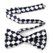 Mens Black & White Checkerboard Pre-Tied Satin Formal Bow Tie