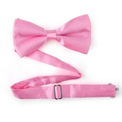 Mens Solid Pink Satin Banded Bow Tie Breast Cancer Awareness Colour