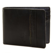 RELIGION Men's Black Leather Coil Zip Feature Wallet NA4036 $110 NWT