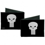 Punisher Marvel Comics White Skull Logo on Black Canvas Bi-Fold Wallet