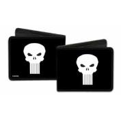 Punisher Marvel Comics White Skull Logo on Black Bi-Fold Wallet