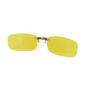 Women Men Clear Yellow Rimless Lens Clip On Sunglasses Glasses