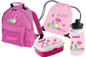Set of 5 Kindergartenbackpack Classic + Lunch box Rosti Mepal + Gym bags + Drinking bottle with Name and Desired Motif from Mein Zwergenland - Shocking Pink