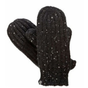 Isotoner Womens Lumpy Black Cable Knit Mittens with Microluxe Lining & Sparkles
