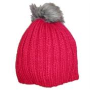 Urbanology Womens Chunky Pink Knit Beanie Winter Hat with Faux Fur Pom Pom