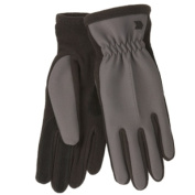 Isotoner Womens Grey & Black Lycra Stretch Gloves with Fleece & Suede Accents