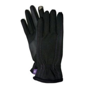 Isotoner Smart Touch Womens Black Stretch Smartouch Gloves with Purple Stitching