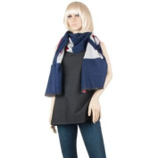Men or Woman's Warm Cosy English Flag themed Winter Scarf Shawl Wrap [Adult Sized 190cm ] (Navy)