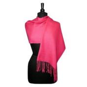 100% Wool Pashmina Scarf Hot Pink Fuchsia Colour Women's Shawl Wrap