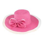 Bowknot Decor White Hem Wide Brim Beach Hat for Ladies
