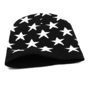 Unisex Black White Stars Printed Knit Elastic Winter Beanies Hat Cap