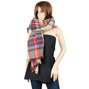 Men or Women's Winter Tide Plaid Blanket Square Wool Oversized Scarf Wrap Shawl with Fringes