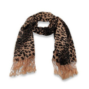 Tan / Brown Leopard Print Shawl / Scarf 70cm X 180cm