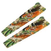 Tiger Print Elastic Fake Tattoo Arm Sleeves Oversleeve Stocking Green Beige 2Pcs