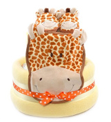 Giraffe Safari theme Unisex Baby Shower yellow Nappy Cake Hamper Gift - FAST.
