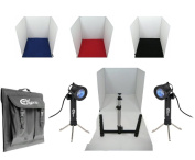 """Ex-Pro® Product LED Photo Soft Box Cube studio set - 15"""" x 15"""" / 40cm x 40cm for white back photography, includes 4 Colour Backgrounds Red, White, Black & Blue, 2 x 20 LED Daylight 6500K Lamps, Tripod stand for camera, Soft Box & carry case. Ideal for .."""