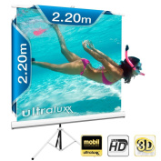 ULTRALUXX© Tripod Projector Screen- Portable - 240 x 240 cm - Borderless - Ideal for presentations or for Home Cinema