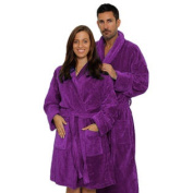 XXL TERRY VELOUR SHAWL Spa Bath Robes, PURPLE Bathrobe MEN or WOMEN