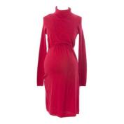 MOTHERS EN VOGUE Maternity Women's Rococco Red Turtleneck Nursing Dress XS $65